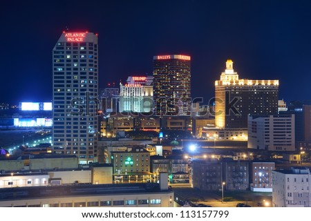ATLANTIC CITY, NJ -  SEPTEMBER 8: Casinos on September 8, 2012 in Atlantic City, New Jersey. Gambling was legalized in the city in 1976 and led to a resurgence. - stock photo