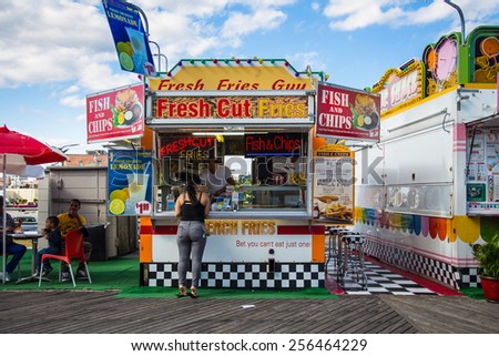 ATLANTIC CITY, NJ - SEPTEMBER 22, 2013:  View of snack concession stand on the Atlantic City boardwalk in New Jersey. - stock photo