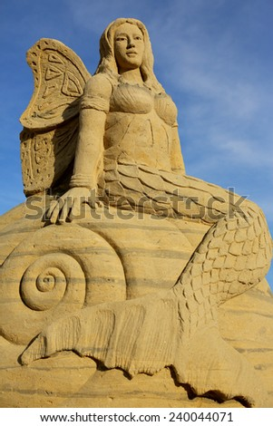 Atlantic City,NJ/USA-July 28,2014: Sand sculpting competition has evolved into a major performing arts attraction in Atlantic City, NJ. This piece of art was made by Bruce Philips. - stock photo