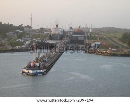 Atlantic entrance to Panama Canal - stock photo