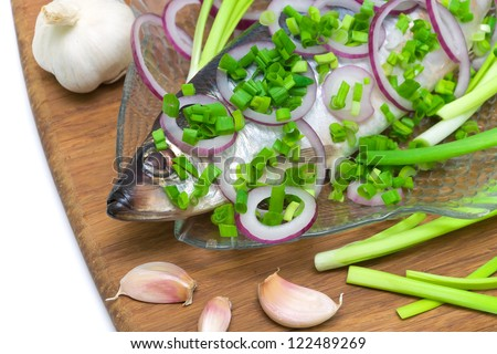 Atlantic herring and vegetables close up - stock photo