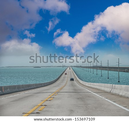 Atlantic intracoastal and highway us1. Florida Keys interstate. - stock photo