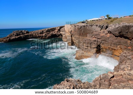 Atlantic Ocean and rocks on the coast of Portugal