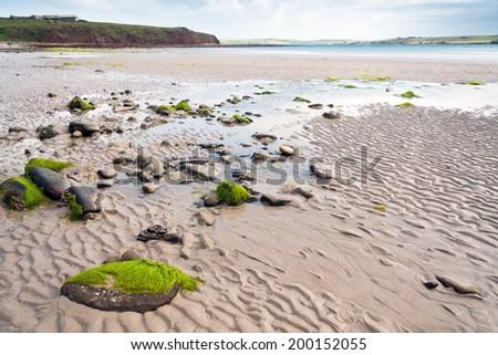 Atlantic ocean at low tide, scotland landscape, UK - stock photo