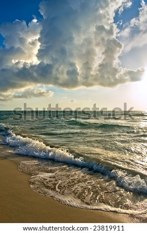 Atlantic ocean coast, FL, USA - stock photo