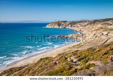 Atlantic Ocean coast. Summer landscape of Gibraltar strait, Morocco - stock photo