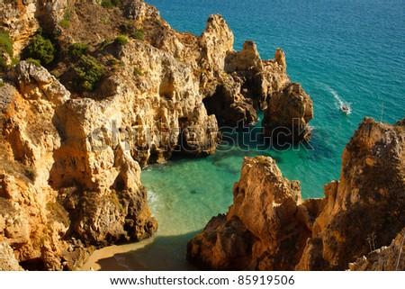 Atlantic ocean coastline in Algarve,Portugal - stock photo