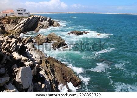 Atlantic ocean in Baleal, Portugal - stock photo