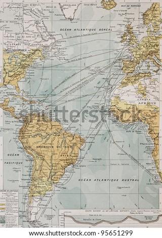 Atlantic ocean old map. By Paul Vidal de Lablache, Atlas Classique, Librerie Colin, Paris, 1894 - stock photo