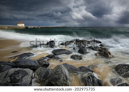 Atlantic ocean shoreline, intracoastal inlet and pier at Boynton Beach, Florida, United States - stock photo