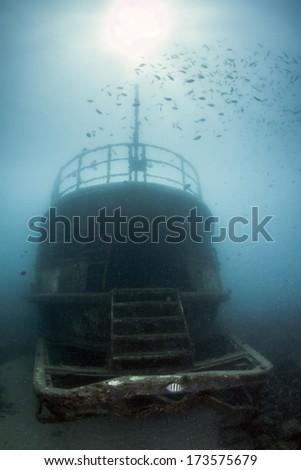 Atlantic Princes Shipwreck sunk in Bayahibe, Dominican Republic in 2011. - stock photo