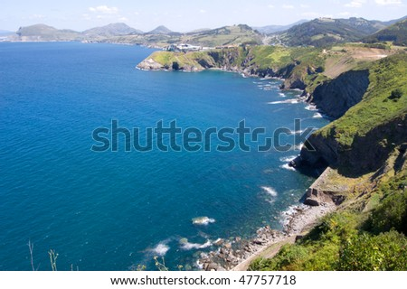 atlantic shore, Costa Vasca near Deba - stock photo