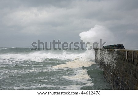 Atlantic storm in Normandy, Le Hable, France