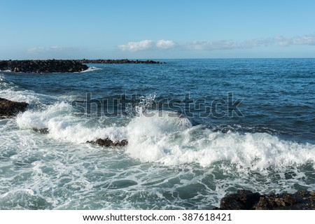 Atlantic wave splashing at Tenerife coast, Canary islands, Spain.