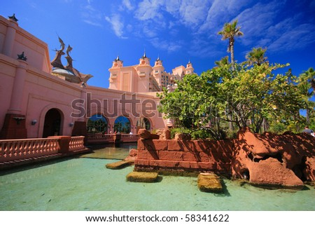 Atlantis Hotel on Paradise Island in Nassau,Bahamas. - stock photo
