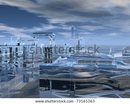 Atlantis, large digital rendering, very suited for background purposes - stock photo