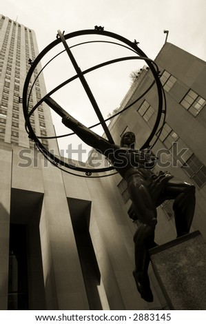 Atlas statue in Rockefeller Center, New York City - stock photo