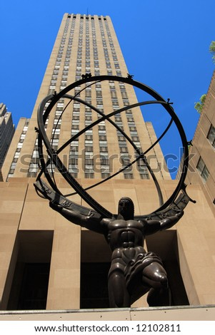Atlas statue on fifth ave in manhattan - stock photo