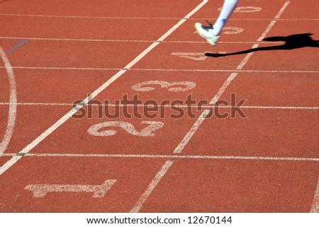 atlhetics outdoor in sport stadium - stock photo