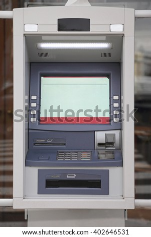 ATM Automated Teller Machine at Bank Window - stock photo
