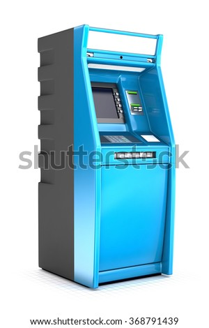 ATM Bank Cash Machine Isolated on white - stock photo