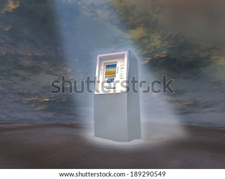 ATM illuminated by a light beam - stock photo