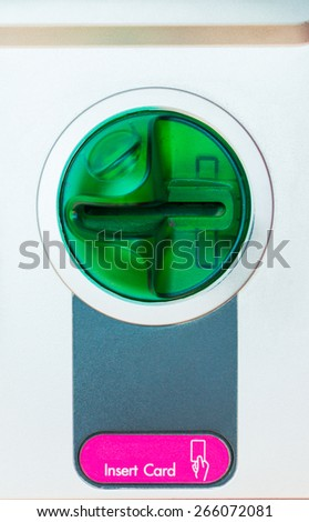 ATM in sert card close-up - stock photo