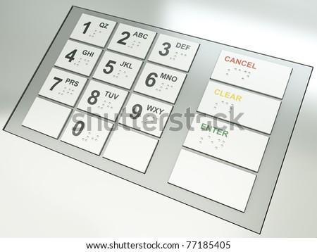 ATM keypad. 3D render. - stock photo