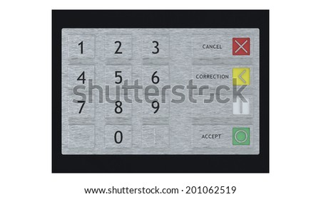 ATM keypad front view isolated on white - stock photo