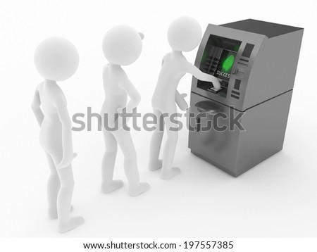 atm machine in a row peoples - stock photo