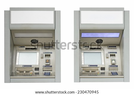 ATM machine isolated on white background - stock photo