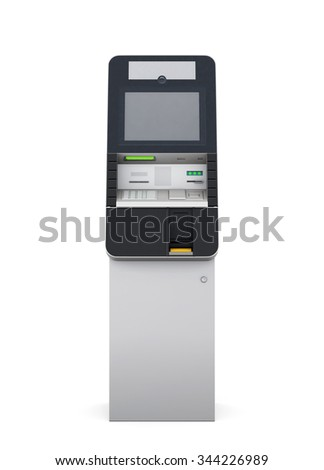 ATM machine isolated on white background. Front view. 3d rendering. - stock photo