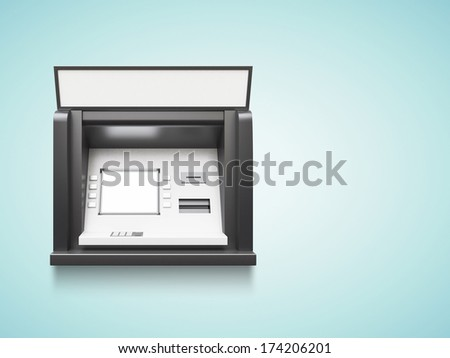 atm machine with blank display on a blue background - stock photo