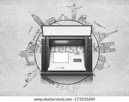 atm machine with blank display, travel concept - stock photo