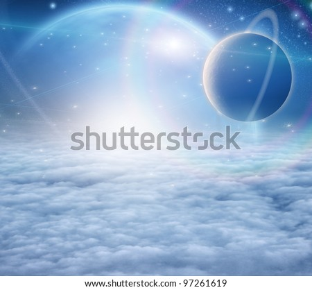 Atmosphere and planets - stock photo