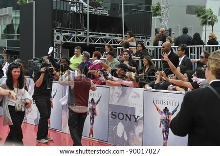 "Atmosphere at the premiere of Michael Jackson's ""This Is It"" at the Nokia Theatre, L.A. Live in downtown Los Angeles. October 27, 2009  Los Angeles, CA Picture: Paul Smith / Featureflash"