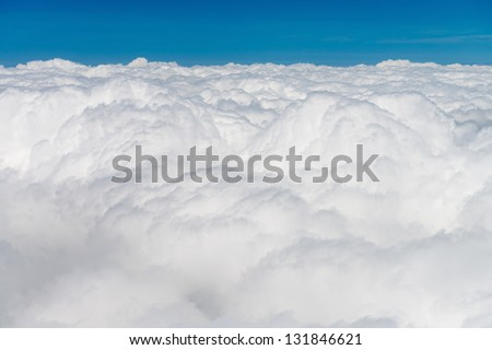 Atmosphere - blue sky and white clouds background - stock photo