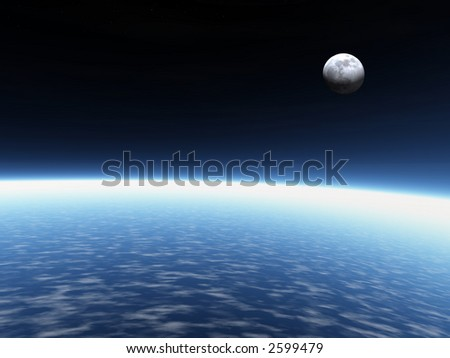 Atmosphere. 3D rendered atmosphere and real moon