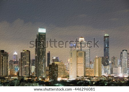 atmosphere of night in the city with oil painting effect