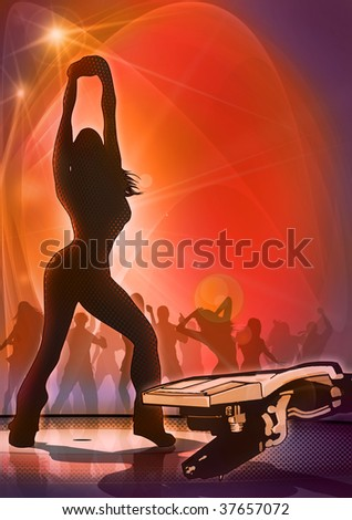 Atmospheric illustration of a night club scene, with dancing girl silhouette and abstract record player - stock photo