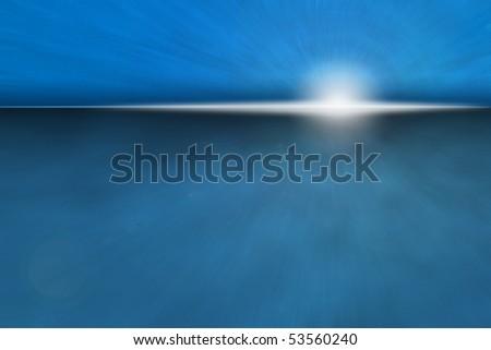 Atmospheric Ocean Sunrise - bright sun rise over dark blue horizon - stock photo