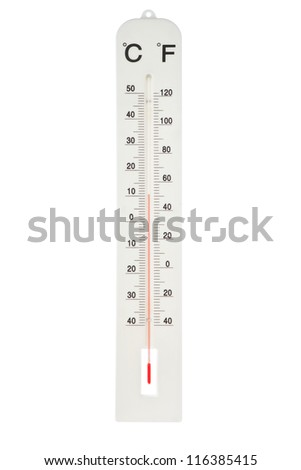 Atmospheric plastic thermometer. On a white background.