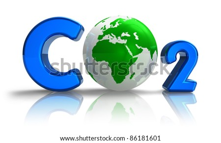 Atmospheric pollution concept: blue CO2 formula with green Earth globe isolated on white reflective background - stock photo