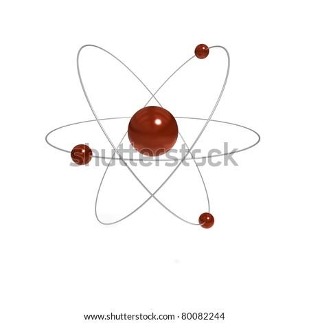 Atom 3D Illustration - stock photo