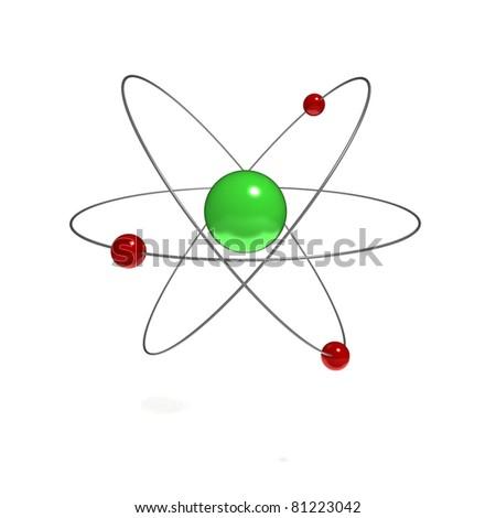 Atom Isolated on White Background - 3D Illustration - stock photo