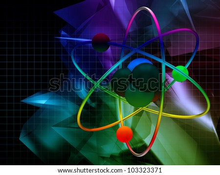 Atom on abstract background - stock photo