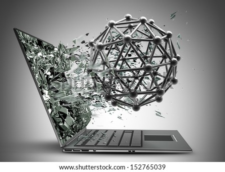 atom silver glossy molecules structure exit by a monitor of laptop screen. High resolution 3d
