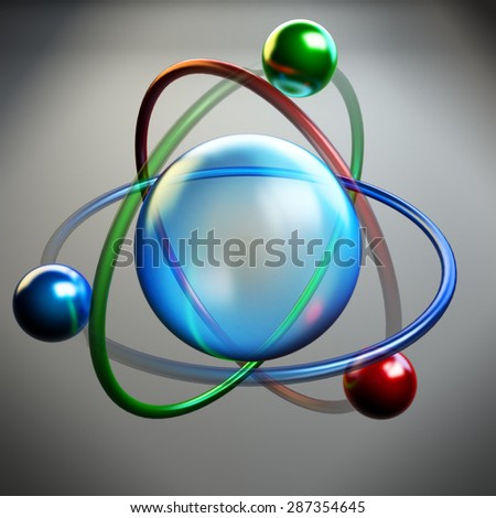 Atom symbol, molecule structure, nuclear physics research icon - stock photo
