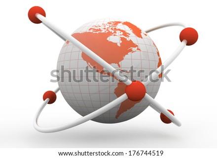 atom symbol with a globe - stock photo