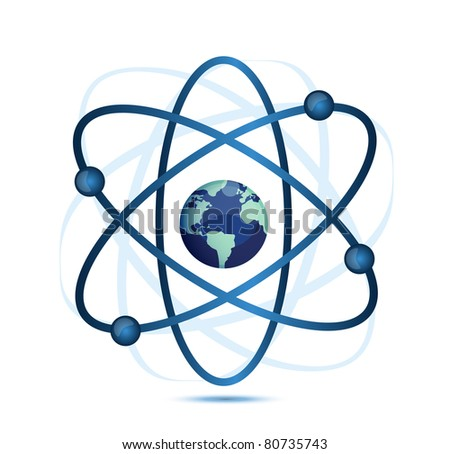 atom symbol with a globe in the middle - stock photo